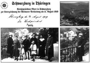 Historische Postkarte mit Handschrift von Friedrich Ebert