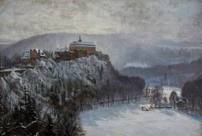 Schloss Schwarzburg im Winter, Gemälde von Carl Malchin (1838-1923)