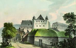 Aquarell im Gästebuch des Schlosses: Eingang zum Schloss Schwarzburg
