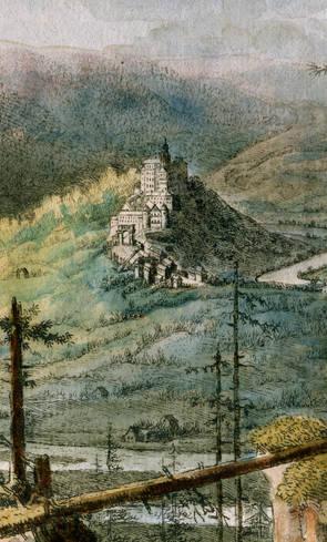 Detailausschnitt des Kupferstichs: Das Stammhaus Schwarzburg