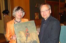 Vereinsvorsitzende Kristine Glatzel mit Lutz unbehaun, Museumsdirektor des Thüringer Landesmuseums Heidecksburg